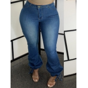 Lovely Casual High-waisted Zipper Design Blue Plus