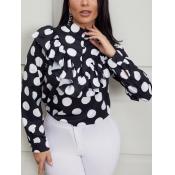 Lovely Silk Fashion Dot Shirt-sleeve Flounce Regul