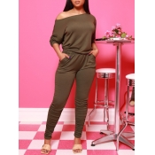 Lovely Casual Off The Shoulder Fold Design Army Gr