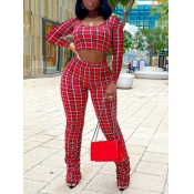 Lovely Street Plaid Print Fold Design Red Two Piec