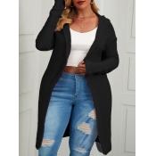 Lovely Casual Hooded Collar Long Long Black Plus S