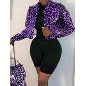 Lovely Casual Leopard Print Patchwork Purple Leath