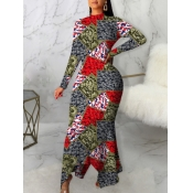 Lovely Casual Geometric Print Patchwork Multicolor