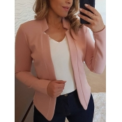 Lovely Formal Basic Skinny Pink Blazer