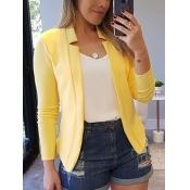 Lovely Formal Basic Skinny Yellow Blazer