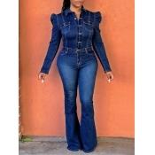 Lovely Trendy Pocket Design Flared Deep Blue Denim