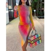 Lovely Trendy Gradient Side High Split Multicolor