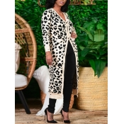 Lovely Casual Leopard Print Patchwork White Cardig