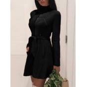 Lovely Formal Lace-up Pocket Design Black Leather