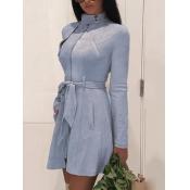 Lovely Formal Lace-up Pocket Design Blue Leather