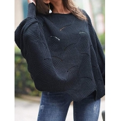 Lovely Casual U Neck Hollow-out Black Plus Size Sw