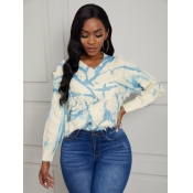 Lovely Sweet V Neck Print Blue Sweater