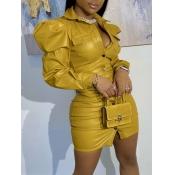 Lovely Casual Fold Button Design Yellow Mini Shirt