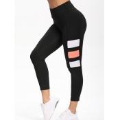 Lovely Sportswear High-waisted Patchwork Black Leg