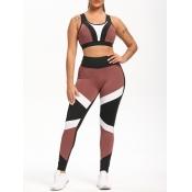 Lovely Sportswear Color-lump Patchwork Black Leggi