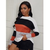 Lovely Chic Striped Patchwork Multicolor Sweater