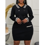 Lovely Formal Striped Pocket Design Black Plus Siz