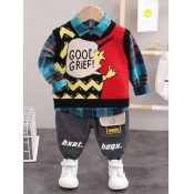 Lovely Stylish Cartoon Letter Print Patchwork Gree