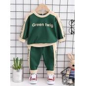 Lovely Sportswear Letter Print Striped Green Boy T