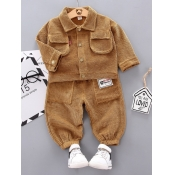 Lovely Trendy Button Pocket Design Brown Boy Two P