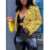Lovely Formal Leopard Print Patchwork Yellow Blaze