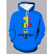 Lovely Casual Letter Print Patchwork Blue Men Hood