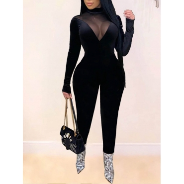 Lovely Sexy Turtleneck See-through Black One-piece