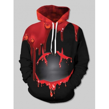 Lovely Street Hooded Collar Print Black Boy Hoodie