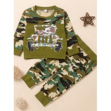 Lovely Sportswear O Neck Cartoon Print Green Boy T