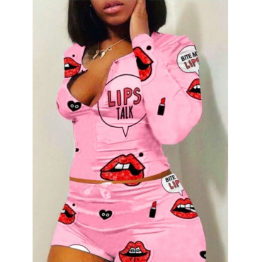 Lovely Lip Print Pink Sleepwear