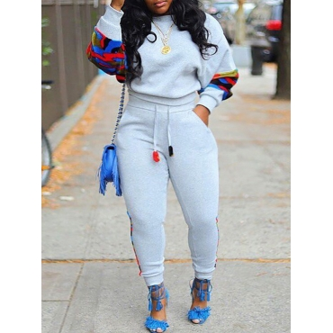 Lovely Casual Patchwork Grey Plus Size Two-piece P