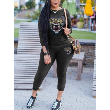 Lovely Casual O Neck Print Black Two Piece Pants S