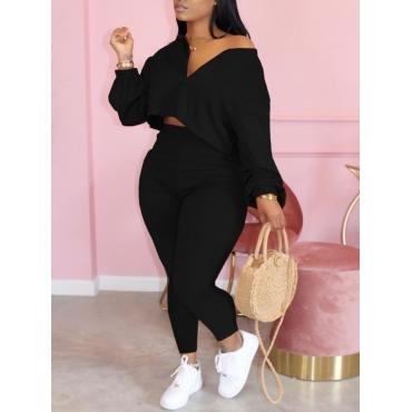 LW BASIC Plus Size Trendy Zipper Design Black Two-piece Pants Set