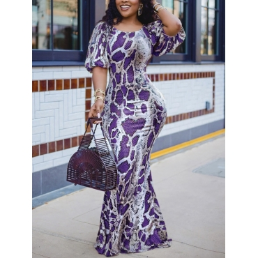 Lovely Sweet Animal Print Puffed Sleeve Purple Flo