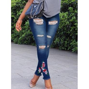 Lovely Street Floral Print Broken Holes Blue Jeans