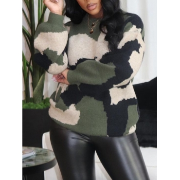 Lovely Street Camo Print Patchwork Loose Sweater