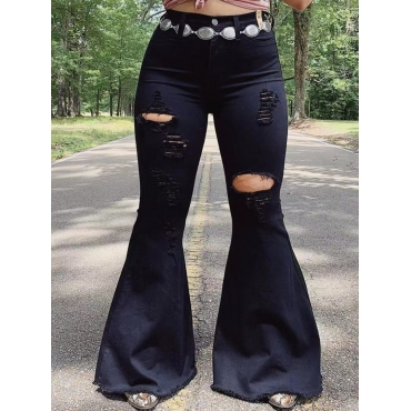 Lovely Casual Flared Broken Holes Black Jeans(With