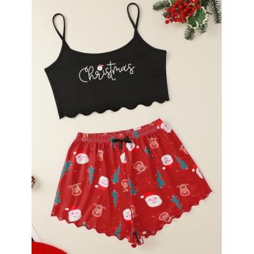 Lovely Trendy Christmas Day Print Drawstring Red S
