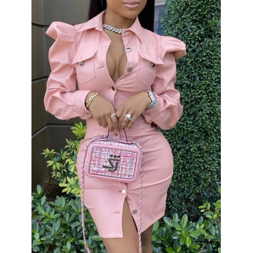 Lovely Stylish Button Ruffle Design Pink Leather