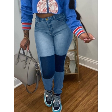 Lovely Street High-waisted Patchwork Blue Jeans