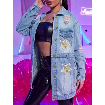 Lovely Casual Star Print Broken Holes Lace-up Blue