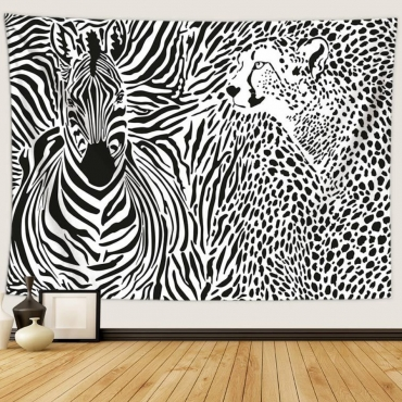 Lovely Zebra Print Patchwork Black Wall Cloth