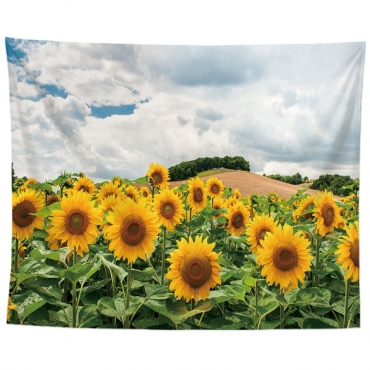 Lovely Sunflower Print Patchwork Yellow Wall Cloth