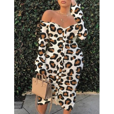 Lovely Casual Off The Shoulder Leopard Print Mid C