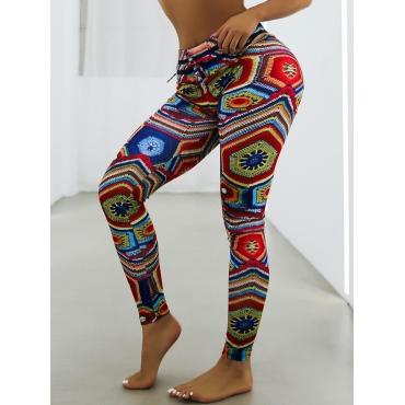 Lovely Sportswear Mid Waist Totem Print Multicolor
