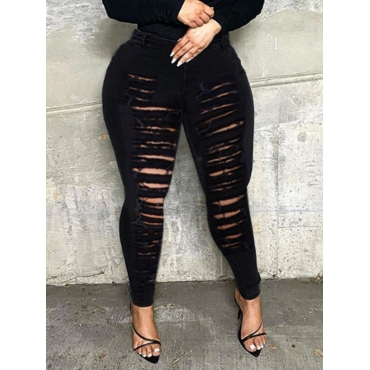 Lovely Street High-waisted Ripped Black Jeans