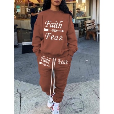 Lovely Casual O Neck Letter Print Coffee Two Piece
