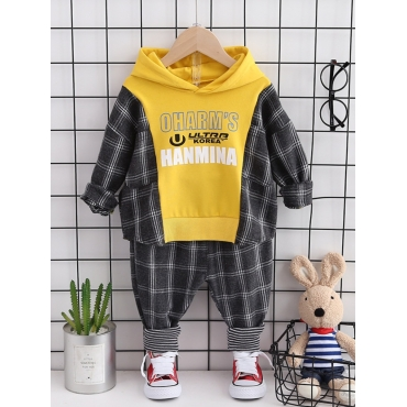 Lovely Casual Hooded Collar Letter Plaid Print Yel