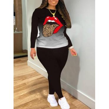 LW COTTON Plus Size Trendy Gradient Leopard Lip Print Black Two-piece Pants Set