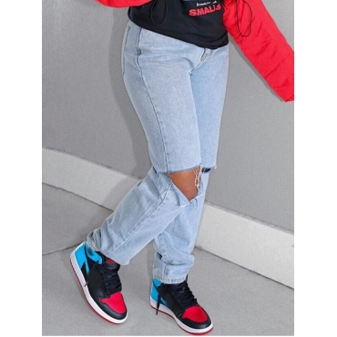 Lovely Casual Mid Waist Hollow-out Skyblue Jeans
